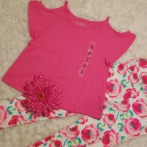 The Children's Place Pink Floral Outfit NWT
